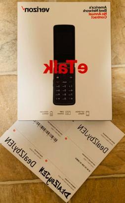 Brand New Verizon Wireless Prepaid eTalk Flip Phone Gray 1.1