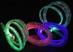 FLAT FLOW LIGHT-UP 3FT LED el charger cable FOR Apple iPhone
