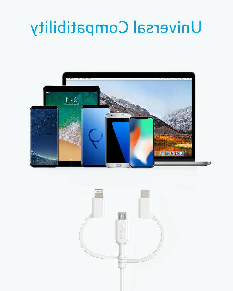 Lightning/Type C/Micro USB Cable for Smartphones -...