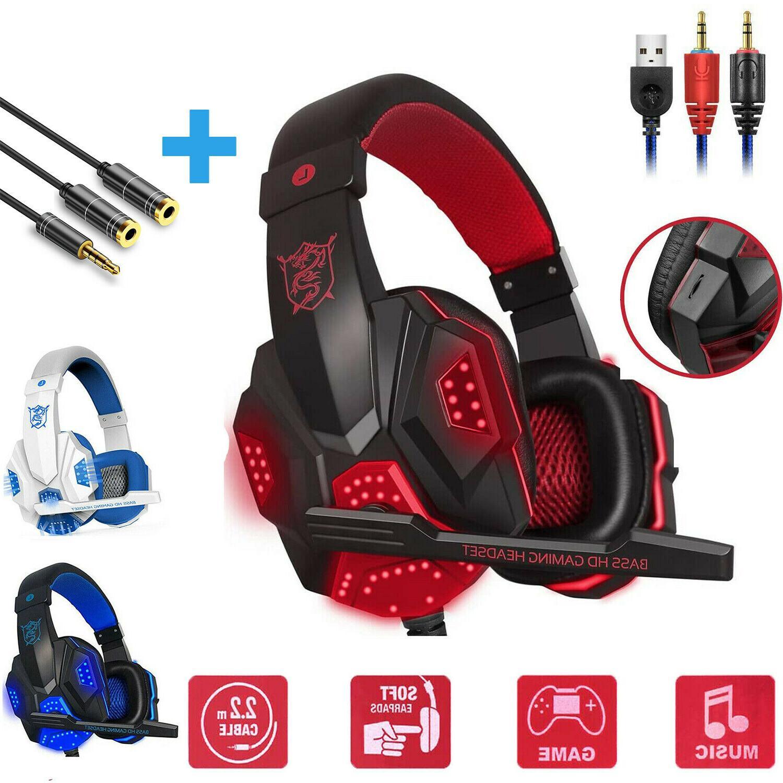 wired gaming headset stereo mic headphones surround